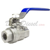 "1/4"" NPT 2-Piece 304 Stainless Steel Ball Valve WOG200"