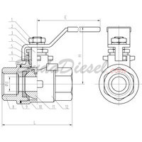 2-Piece Ball Valve Drawing with Dimensions