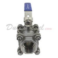 "WOG1000 SUS304 3-Piece Ball Valve 1-1/4"" NPT Front View"