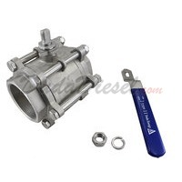 "3PC Ball Valve WOG1000 Type II 4"" NPT Components"