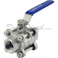 "3/4""1/2"" NPT 3-Piece 304 Stainless Steel Ball Valve WOG200"