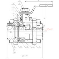 3-Piece Ball Valve Drawing with Dimensions