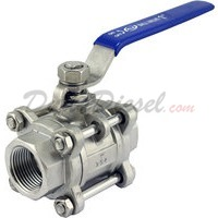 "1""1/2"" NPT 3-Piece 304 Stainless Steel Ball Valve WOG200"