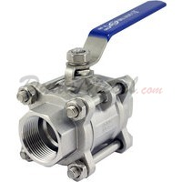 "1-1/4""1/2"" NPT 3-Piece 304 Stainless Steel Ball Valve WOG200"