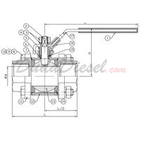 3-piece ball valve drawing
