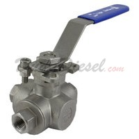 "3-Way Ball Valve HMP WOG1000 L-Type 1/4"" NPT"