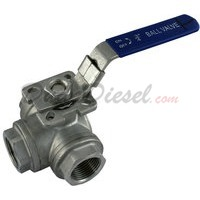 "3/4"" NPT 3-Way 304 Stainless Steel Ball Valve WOG1000"