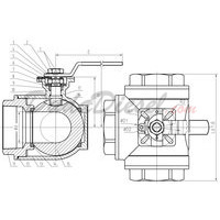 3-Way Ball Valve Drawing with Dimensions