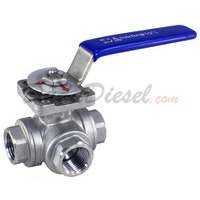 "1/2"" NPT 3-Way 304 Stainless Steel Ball Valve WOG200"