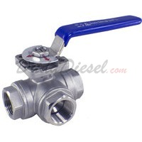 "3/4"" NPT 3-Way 304 Stainless Steel Ball Valve WOG200"