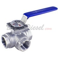 "1"" NPT 3-Way 304 Stainless Steel Ball Valve WOG200"