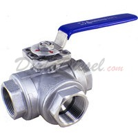 "1-1/4"" NPT 3-Way 304 Stainless Steel Ball Valve WOG200"