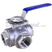 "1-1/2"""" NPT 3-Way 304 Stainless Steel Ball Valve WOG200"