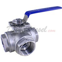 "2"" NPT 3-Way 304 Stainless Steel Ball Valve WOG200"