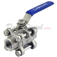 "1/2"" 3 piece ball valve stainless steel servicable"