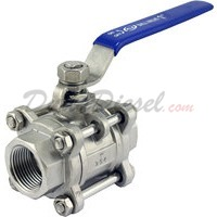 "1"" 3 piece ball valve stainless steel servicable"