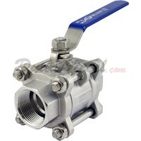"1-1/4"" 3 piece ball valve stainless steel servicable"