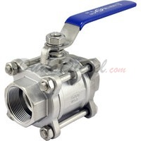 "1-1/2"" 3 piece ball valve stainless steel servicable"