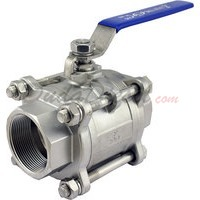 "2"" 3 piece ball valve stainless steel servicable"