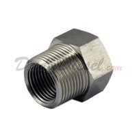 "Female Tapped Garden Hose Adapt3/4 FGH x 3/4 MPT x 1/2"" FPT stainless steel"