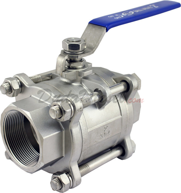 3//4 NPT Duda Energy 3PCBV-WOG1000-F075 Full Port Ball Valve 3 Piece 304 Stainless Steel PTFE Seals Water Oil Gas.75
