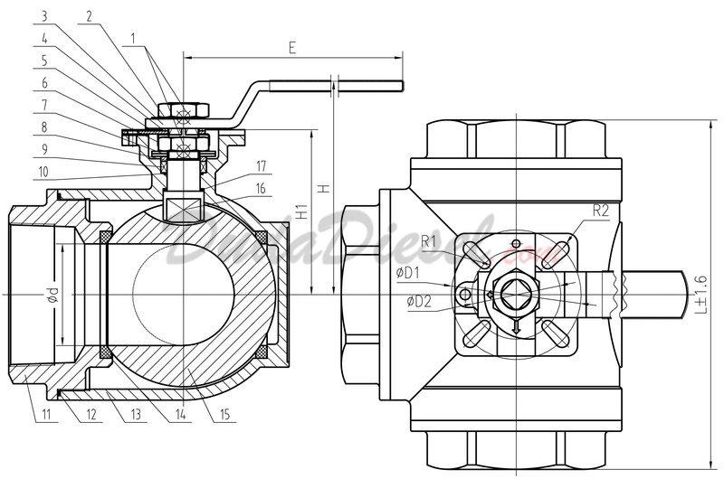 3 Way Industrial Strength Ball Valve 3wbv Wog1000 F125